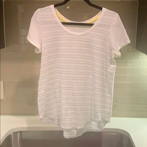 Lululemon. Short Sleeve. White with Gray Stripes.